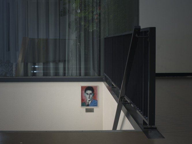 Picture of writer Franz Kafka in a local government office, Amsterdam